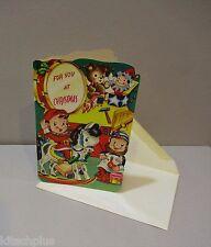 Vtg Child's Christmas Card Elf Santa Work Shop Rocking Horse Toy Doll UNUSED 50s