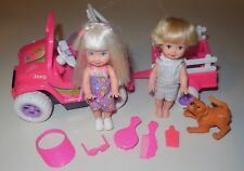 KELLY SISTER BARBIE BATTERY MOTORIZED JEEP VEHICLE TRAILER TOMMY MATTEL 1997 LOT
