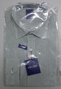 NEW Abelard Size 40 Medium Slim Green Striped Long Sleeve Business Shirt $119.95