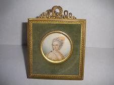 Antique 19th beautiful woman miniature portrait painting dore frame signed