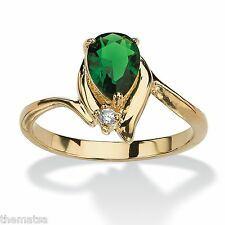 WOMENS 18K GOLD PLATED PEAR SHAPED EMERALD  RING SIZE 5,6,7,8,9,10