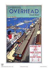 LIVERPOOL MERSEY  OVERHEAD RAILWAY TRAVEL POSTER RETRO VINTAGE ADVERTISING
