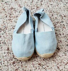 NWT Gap Girls Light Blue Denim Chambray Slip On Espadrille Shoes Flat Sz 7 C