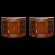 Superb Pair of 19th Century English Inlaid Credenzas