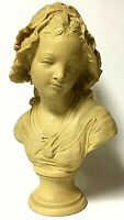 Antique Signed Grinam Niam Decorative French Peasant Girl Bust