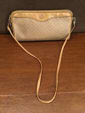 Authentic Vintage GUCCI Beige Brown Yellow Canvas Leather SHOULDER BAG CLUTCH