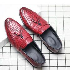 Mens Fake Crocodile Leather Oxfords Formal Slip On Tassels Black Business Shoes