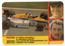 1987 portugués De Bolsillo Calendario F1 Williams Equipo-Nigel Mansell + Nelson Piquet