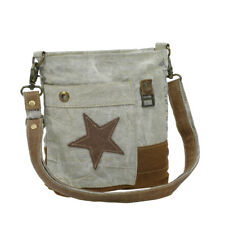 Leather Star Recycled Khaki Canvas Cross Body Bag-Medium Size-Lots of Pockets