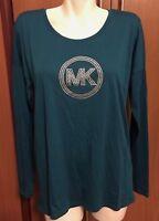 Michael Kors Women Deep Teal Blue Top Shirt Silver Logo L Large New NWT