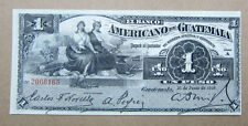 1918 El Banco Americano de Guatemala 1 Peso bank note AU UNC huge sale scarce