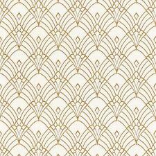 MODERN ART DECO ASTORIA WALLPAPER WHITE / GOLD - RASCH 433913