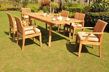 "Lagos A-Grade Teak 7pc Dining 94"" Rectangle Table 6 Arm Chairs Set Outdoor Patio"