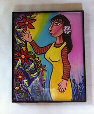 CHICANO MODERN ABSTRACT HIPPIE POP FOLK ART 2001 SIGNED JOE GOMEZ OIL PAINTING