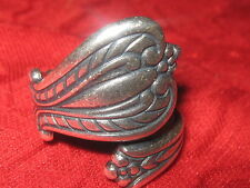USA  SILVER PLATED FLORAL SPOON RING SIZES 9-10 ADJUSTABLE ANTIQUE STYLE