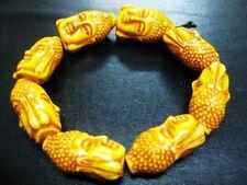 cool tribal arhat beade amulet buddha head lucky biker bracelet Ng