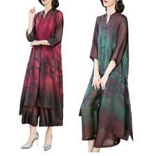 Women Vintage Style Silky Shirt Dress Maxi Lagenlook Wide Leg Pants 2Pcs Suits L