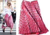 Metallic Lurex Heart Print Fine Pleated Plisse Full Midi Long Skirt Shimmering