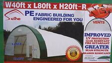 40x80x20 Canvas Fabric Tarp Storage Building Shop Metal Frame Pre-fab Quonset