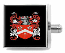 Stamps England Family Crest Surname Coat Of Arms Cufflinks Personalised Case