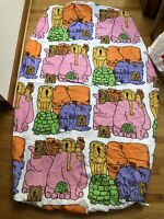 """Vintage 70s 80s  Zoo Animal Cartoon Fitted Twin Bed Sheet 75"""" x 43"""" orange  pink"""