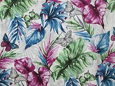 Butterfly Butterflies Garden Leaves Green Blue Purple Cotton Fabric FQ