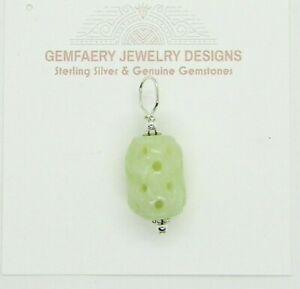 Sterling Silver Carved Natural Green JADE Gemstone Pendant #1610...Handmade USA
