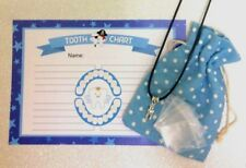 Tooth Fairy lost Tooth Blue set-Certificate*Pouch*Pendant*Mini Tooth bags