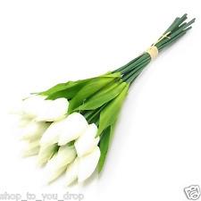 Crème tulip 16 tige bouquet artificiel fleur tombe vase display décoration jardin maison