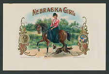 Nebraska Sidesaddle Girl Horse & Collie Dog Original Cigar Box Label Vintage Art
