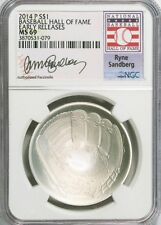 2014-P $1 Ryne Sandberg Baseball Hall of Fame NGC MS69 Early Releases