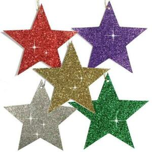 150 Glittered Christmas Star Gift Tags or Tree Decoration in Six Colours (EG)