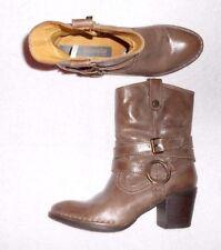 BUSSOLA bottines zippées cuir taupe P 37 TBE