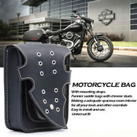Motorcycle Black Saddle Bag Bike Side Storage Fork Tool Pouch For Harley Honda