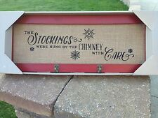 Stocking Hanger Holder Christmas Living Room Holiday Home Wall Burlap Sign