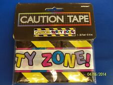 Party Zone Caution Tape Ribbon Barrier Banner Border Plastic Hanging Decoration