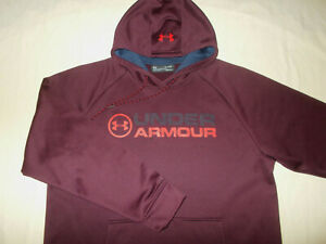 UNDER ARMOUR COLD GEAR MAROON HOODED SWEATSHIRT MENS XL EXCELLENT CONDITION