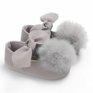 2020 Fashion Toddler Baby Girl Shoes Soft Fur Ball Cute Sole Crib Pram Shoes PU