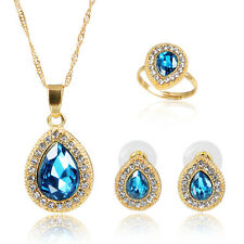 Pendant Necklace Earring Set Fashion Blue Zircon Gold Plated Jewelry Sets