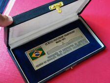 ANTIQUE METAL MEDAL NAVAL PENTATHLON CHAMPIONSHIP BRAZIL 1977 ENAMELED ORIG BOX