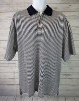 Byron Nelson Mens Polo Sz XL Short Sleeve Blue White Striped Cotton