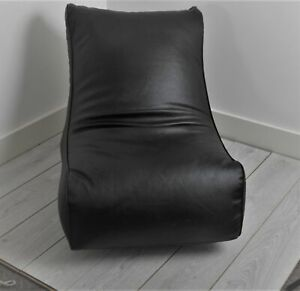 Faux Leather GAMING CHAIR BLACK Bean Bag / Seat / Gaming Chair-Generously Filled