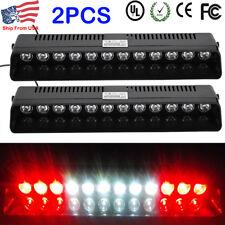 2X RED WHITE RED 12 LED Warning Strobe Visor Light Bar Dash Flash Emergency Lamp