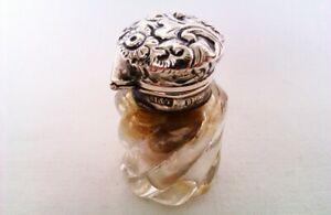 Rare & Beautiful Solid Silver & Cut Glass Victorian Vinaigrette H & T 1895