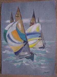 gouache de Guy Fantou courses de voiliers bateaux