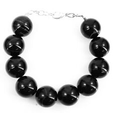 570.00 Cts Natural 9 Inches Long Black Onyx Round Shape Beads Bracelet NK 13E40