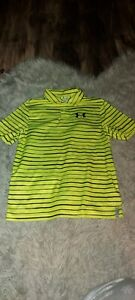 Boy's Under Armour Neon Yellow Striped Polo Shirt Size L