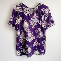 41 Hawthorn Stitch Fix Purple Floral Ruffle Short Sleeve Career Blouse Small