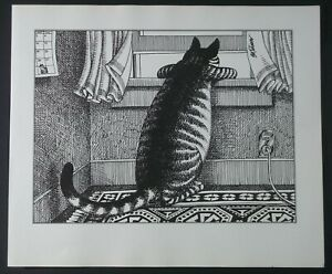 B Kliban Cats Cat Looking Out Window Nosy Neighbor Vintage 1981 Funny Cat Art