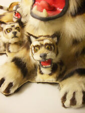 REAL FUR stuffed Tiger taxidermy bobble head figure circus toy animal plush car